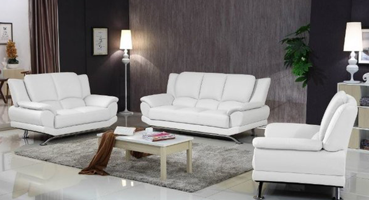 Picture of: Milano Modern Leather Sofa Set White Matisseco