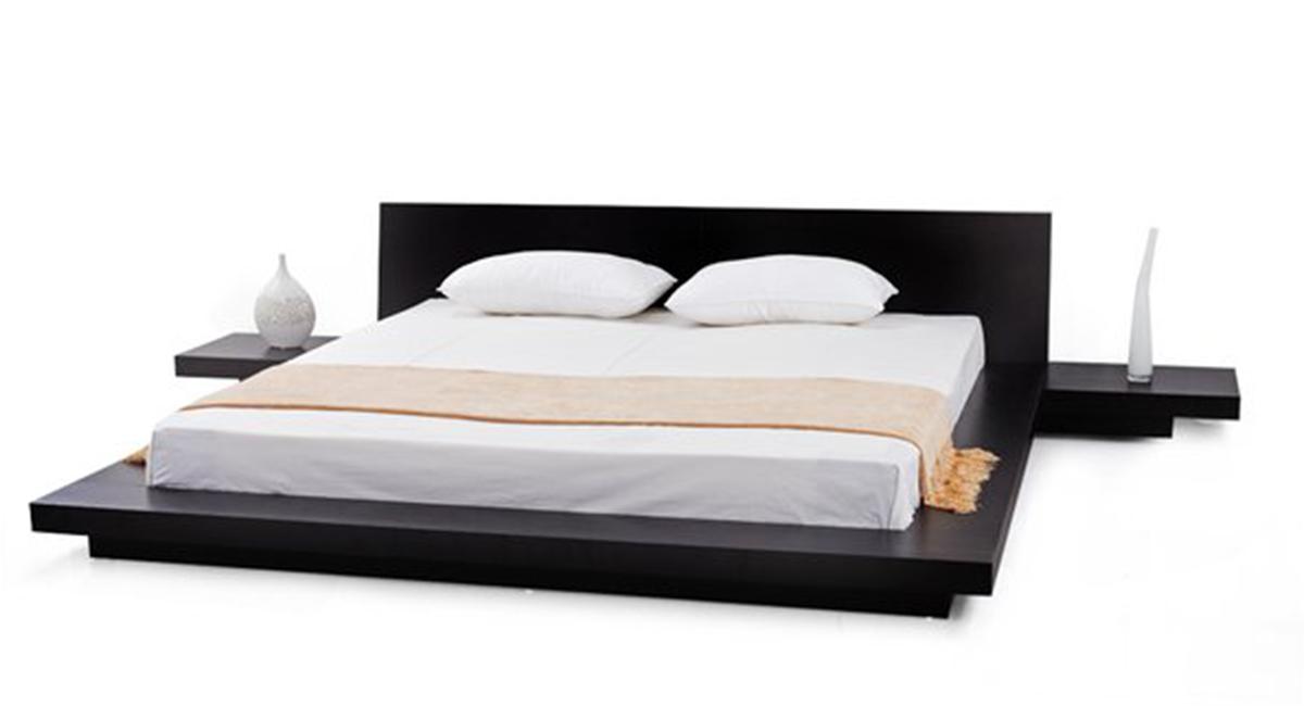 Fujian Modern Platform Bed Espresso, Fujian Platform Bed Queen