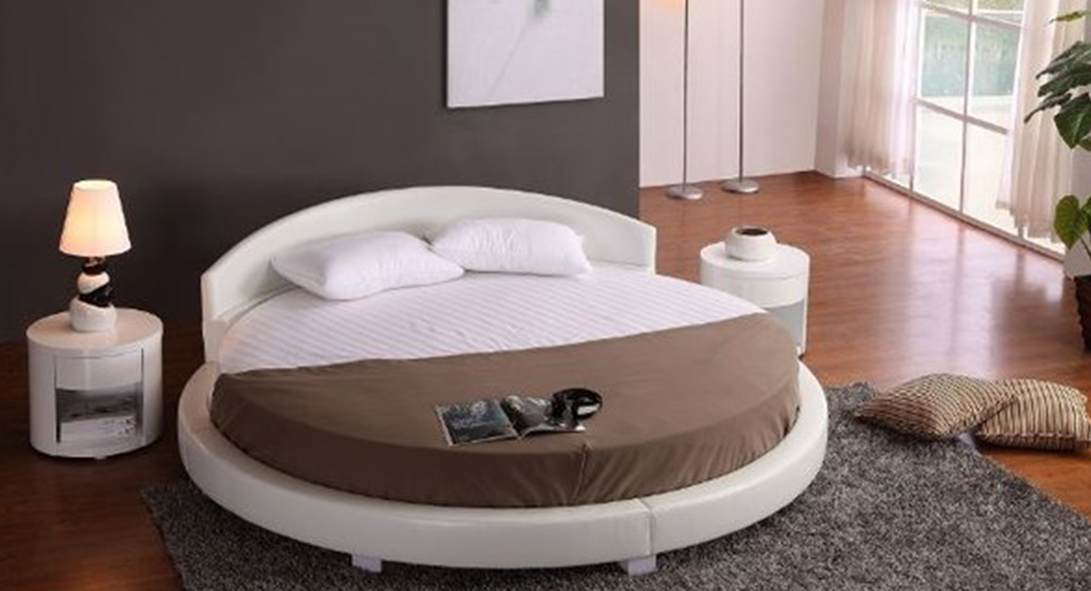 Panda Round Bed White 87 Diameter Matisseco