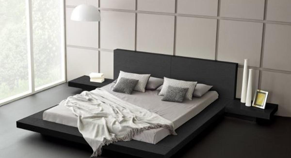 astounding modern furniture platform beds | Fujian Modern Platform Bed (Ash Black) - matisseco