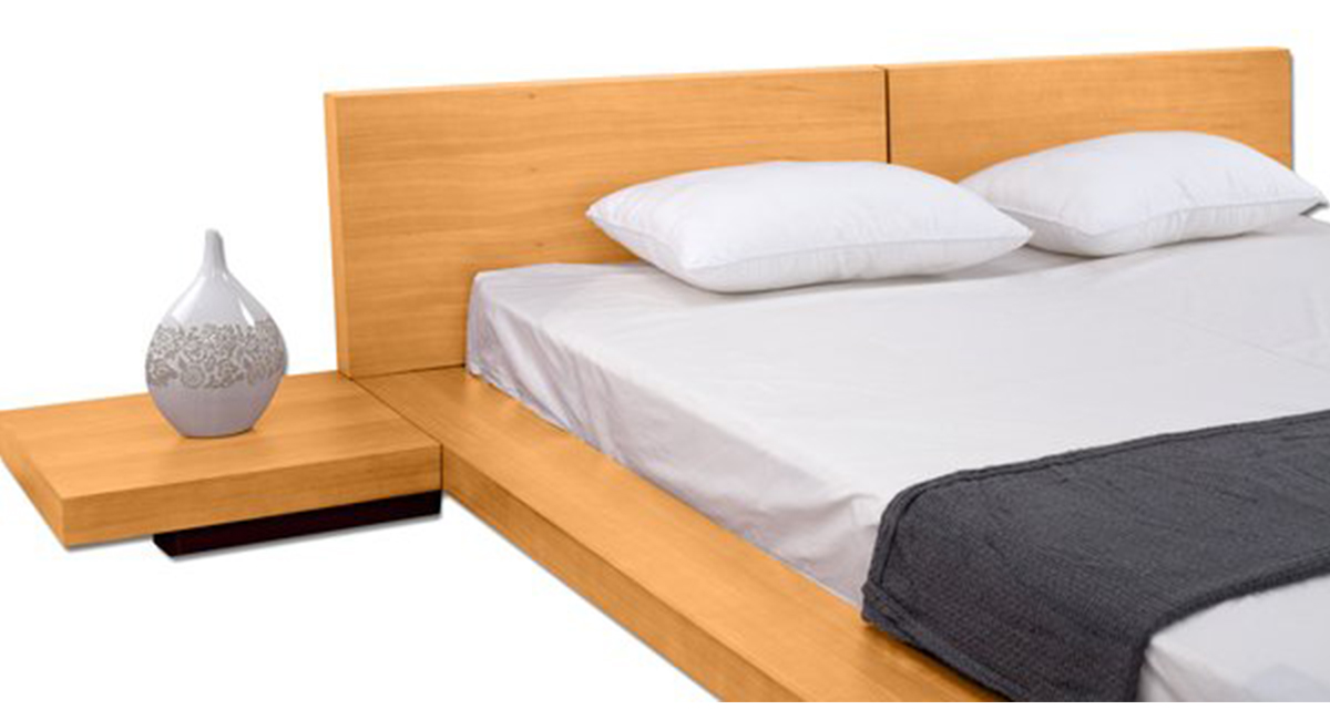 Fujian Modern Platform Bed Oak, Fujian Platform Bed Queen