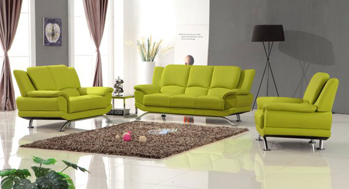 Milano Leather Sofa Set Lime Green