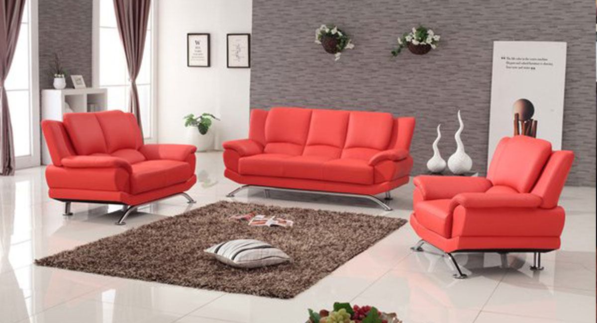 Milano Modern Leather Sofa Set Red V1 Touch To Zoom
