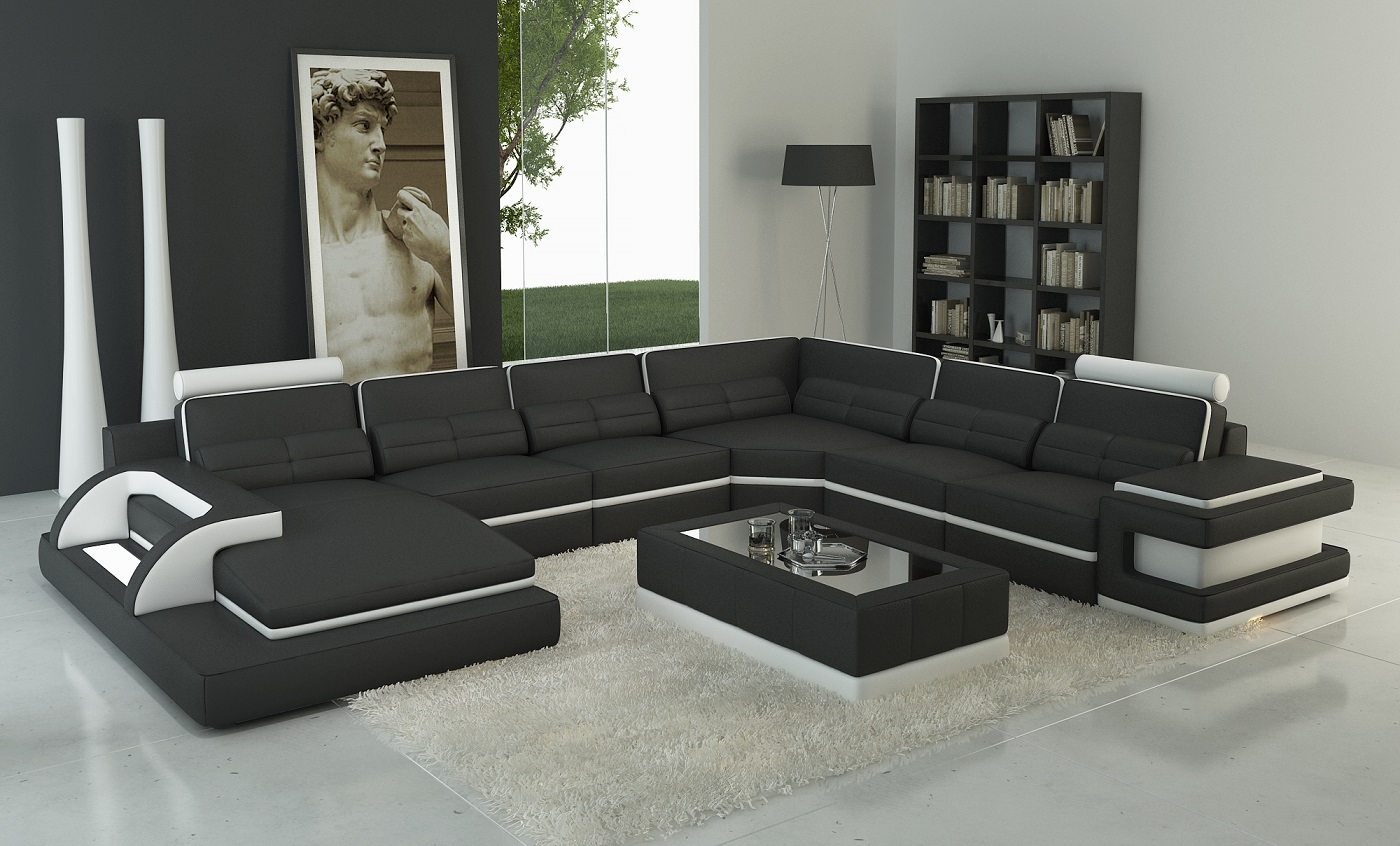 Torro Sectional Sofa With LED lights (Black-White Trim)