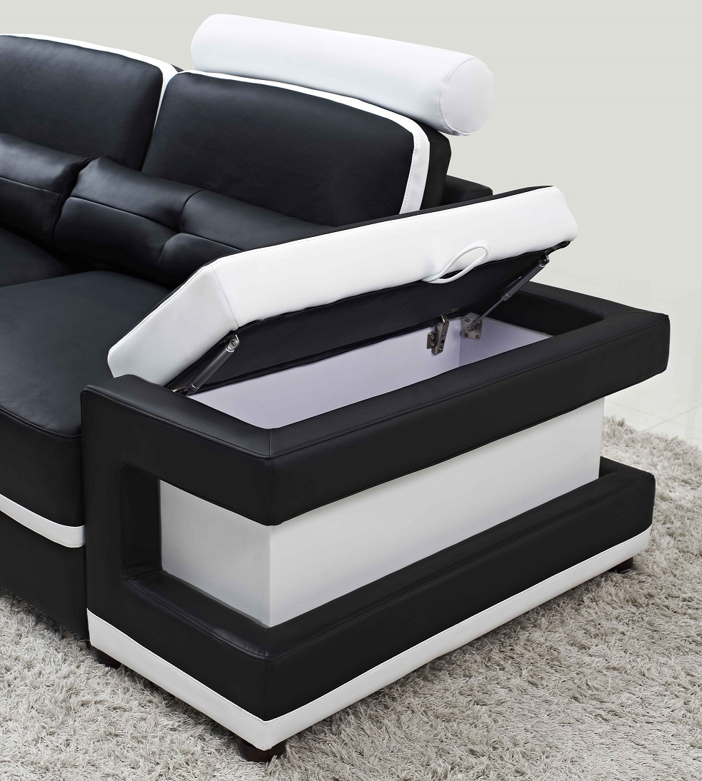 Torro Sectional Sofa With Led Lights Black White Trim