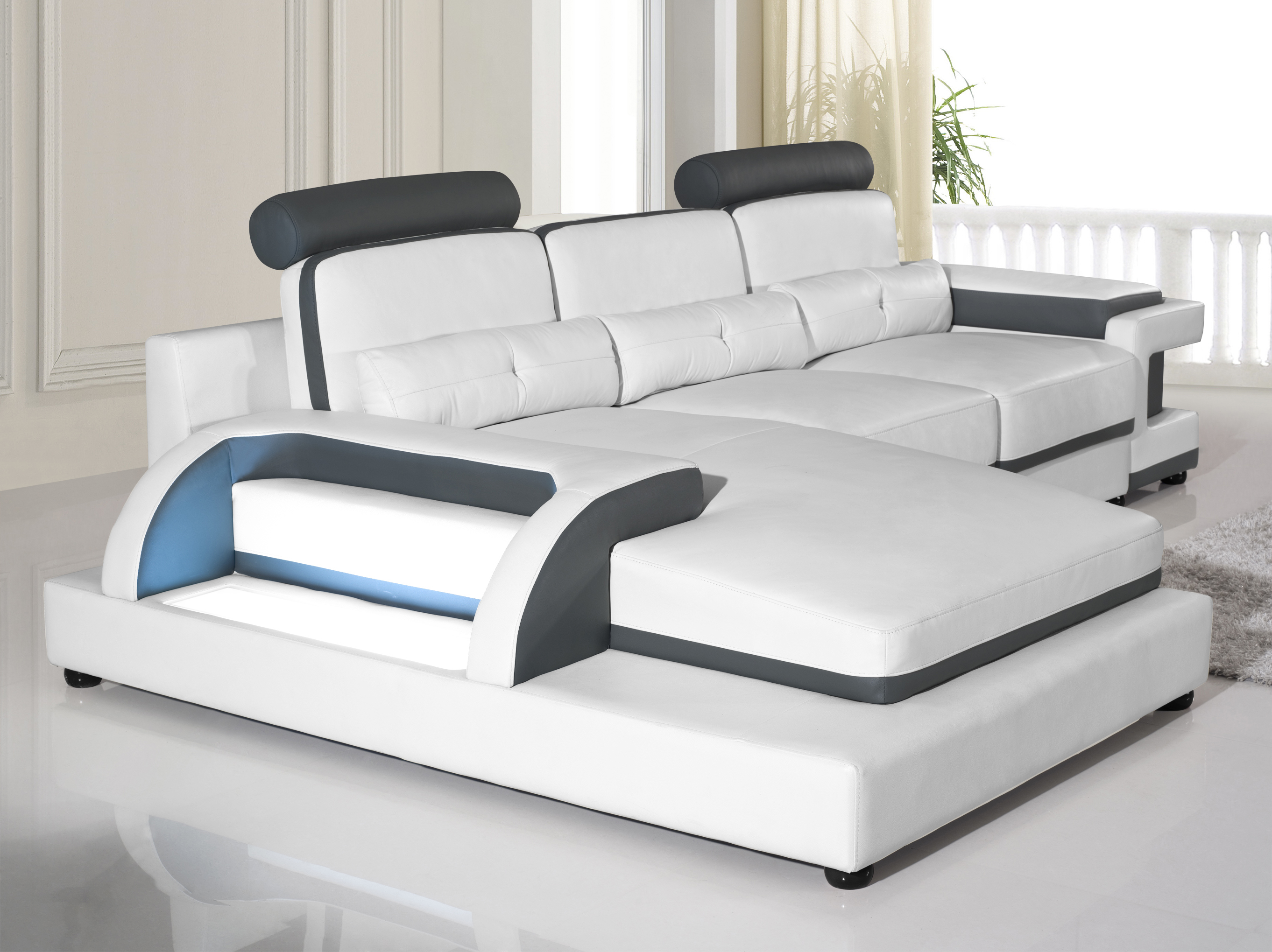Torro Sectional Sofa L With Led Lights White Black Trim