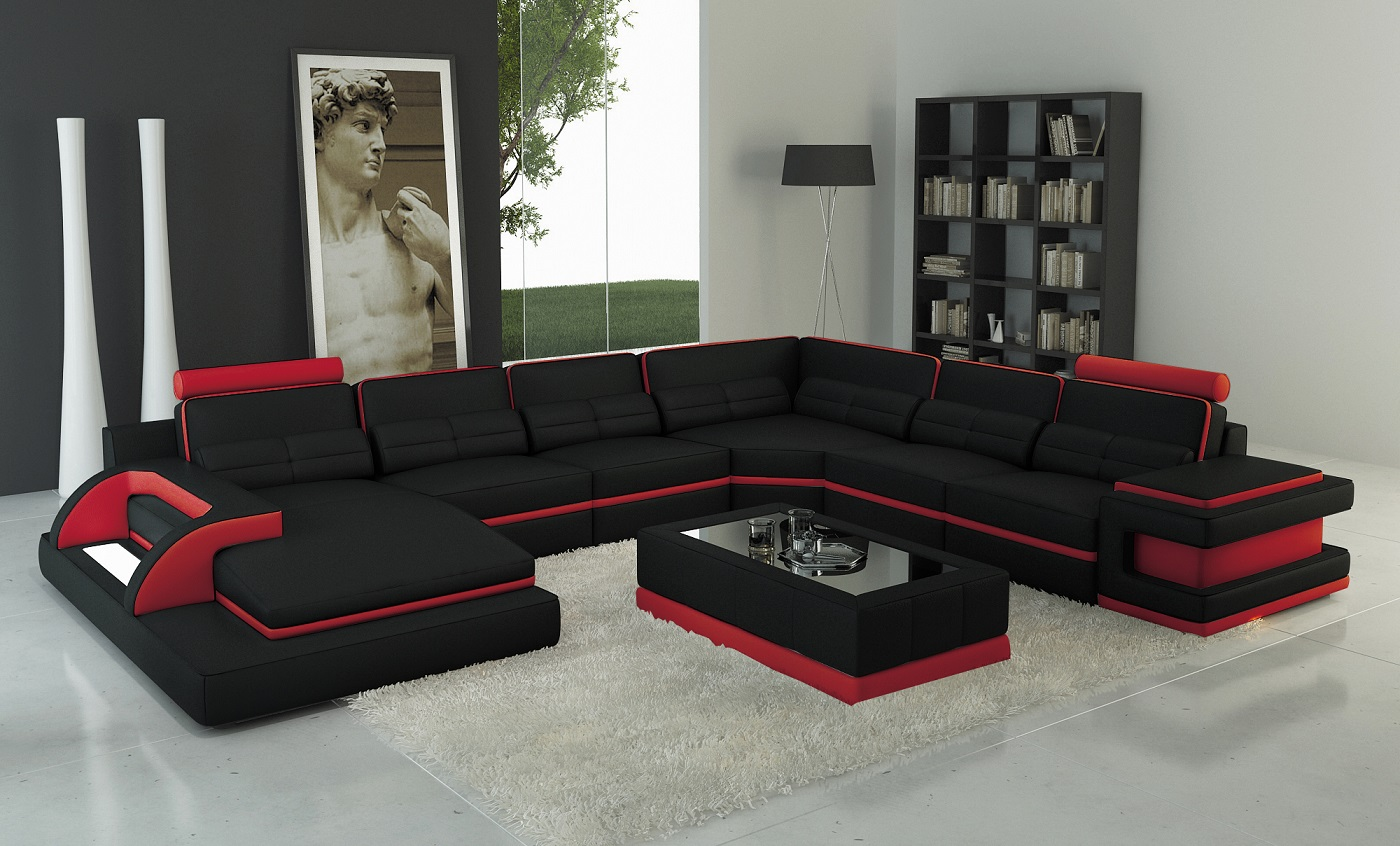 Torro Sectional Sofa With Led Lights Black Red Trim Matisseco