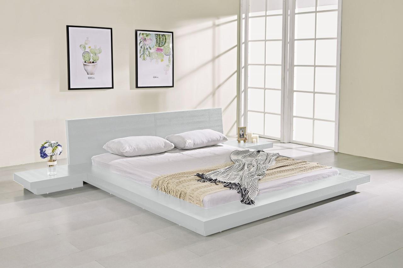 Fujian Modern Platform Bed Ash White Matisseco
