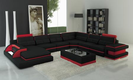 Awesome Torro Sectional Sofa With Led Lights Black Red Trim Pabps2019 Chair Design Images Pabps2019Com